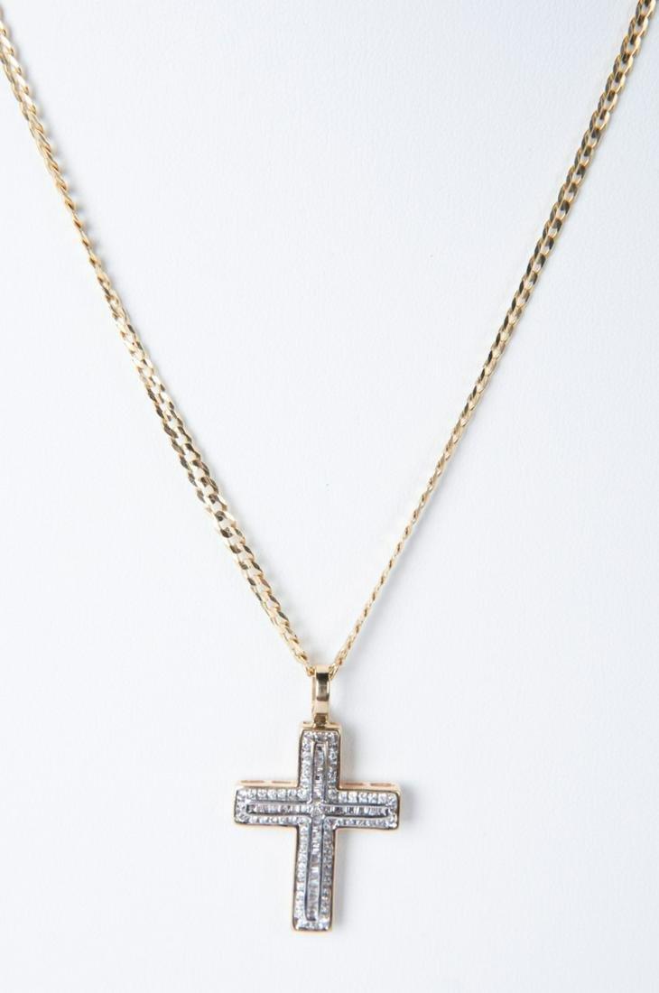 14k and 1.13 CTW Diamond Cross Necklace