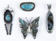 4 Pcs Silver and Hardstone Jewelry incl Turquoise