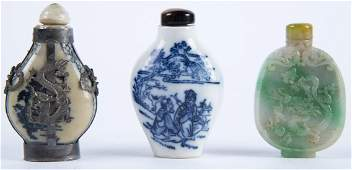 3 Snuff Bottles incl Jade & Silver Mounted