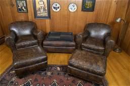 6 Pc Art Deco Furniture Incl Club Chairs  Ottoman