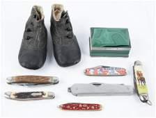 8 Pc Grouping Incl Pocket Knives & Malachite Box