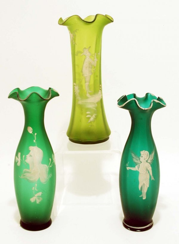4: 3 Mary Gregory Type Satin Enameled Glass Vases