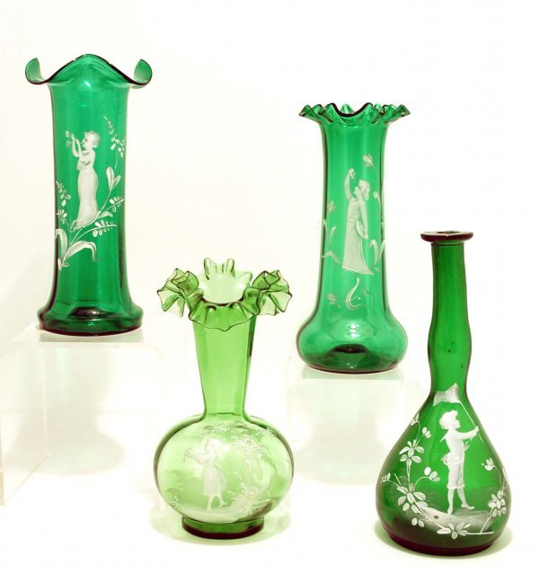 6: 4 Green Mary Gregory Type Enameled Glass Vases
