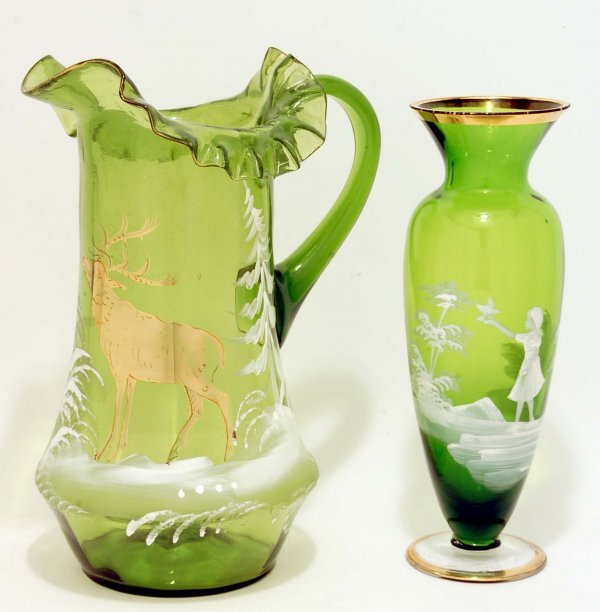 8: Green Mary Gregory Type Enameled Glass Pitcher, Vase