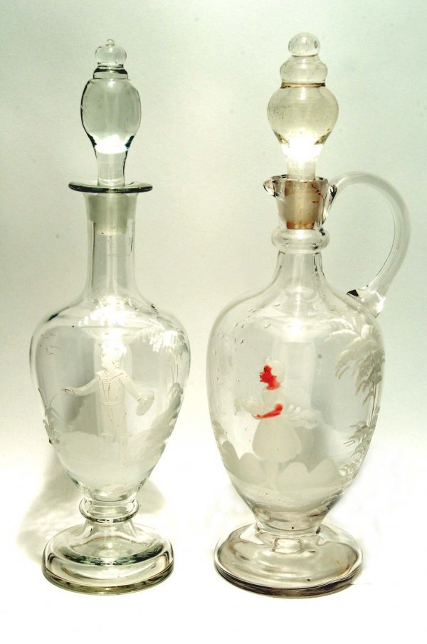 9: Mary Gregory Type Enameled Glass Decanter & Ewer