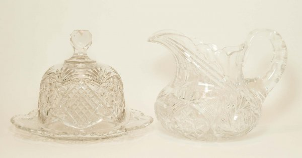 10: Brilliant Cut Glass Pitcher & Covered Cheese Dish