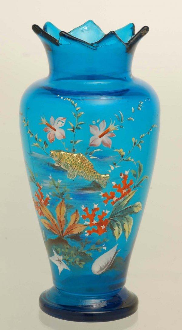 12: 19th C Moser Type Aquatic Vase w/ Applied Fish