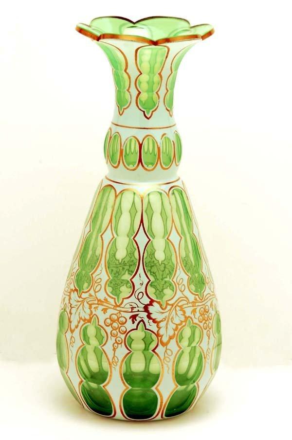 16: Large Bohemian White Over Green Cut Overlay Vase