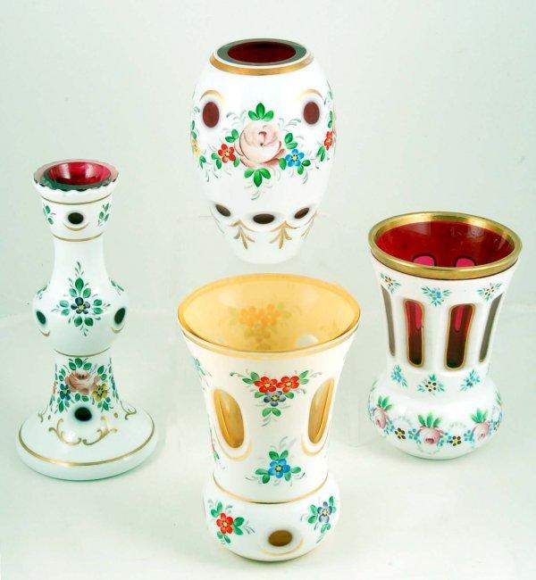 17: 4 Small Bohemian White Overlay Vases