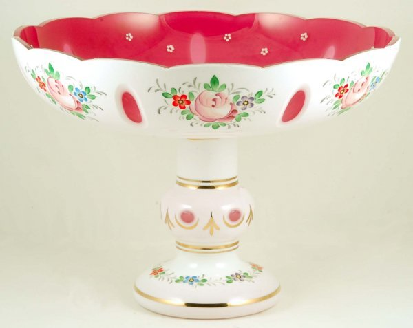 18: Bohemian White Over Cranberry Cut Overlay Compote