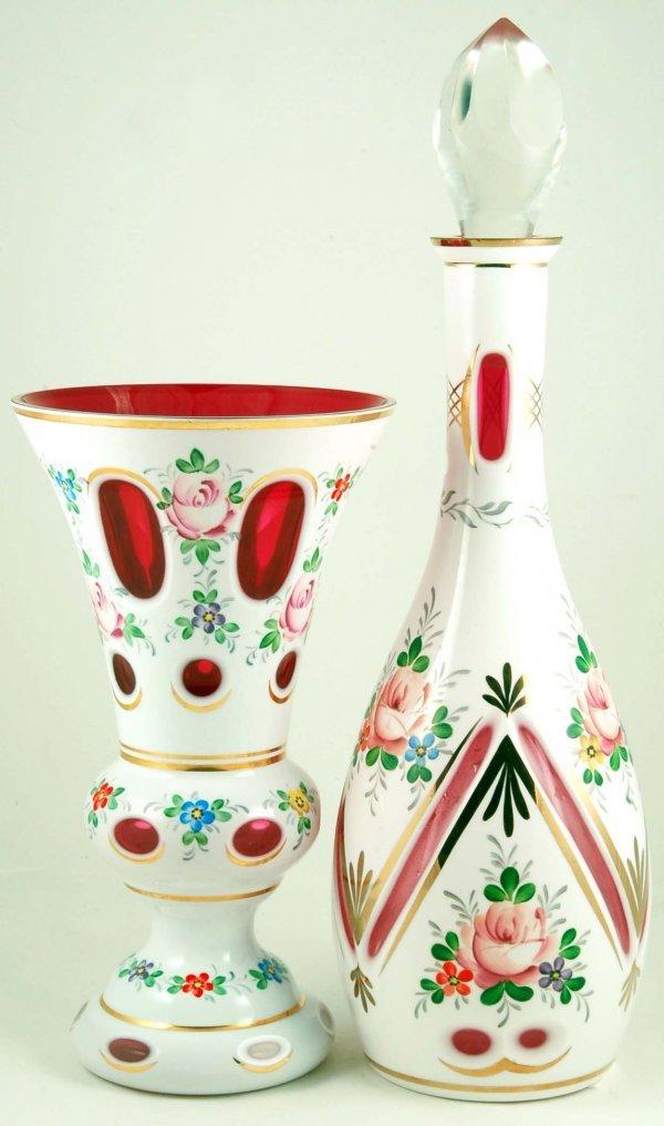 20: Bohemian Cranberry Overlay Decanter & Vase