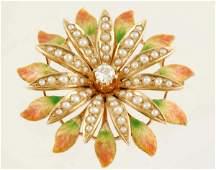 178 Victorian Enamel Pearl  Diamond Flower Brooch