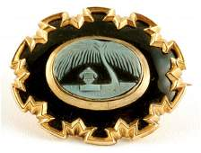 197 Victorian Hard Stone Cameo Mourning Brooch