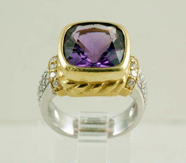 Judith Ripka JRTwo Sterling & 18K Amethyst Ring