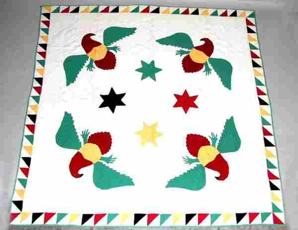 Applique Quilt with Eagles 20th Century