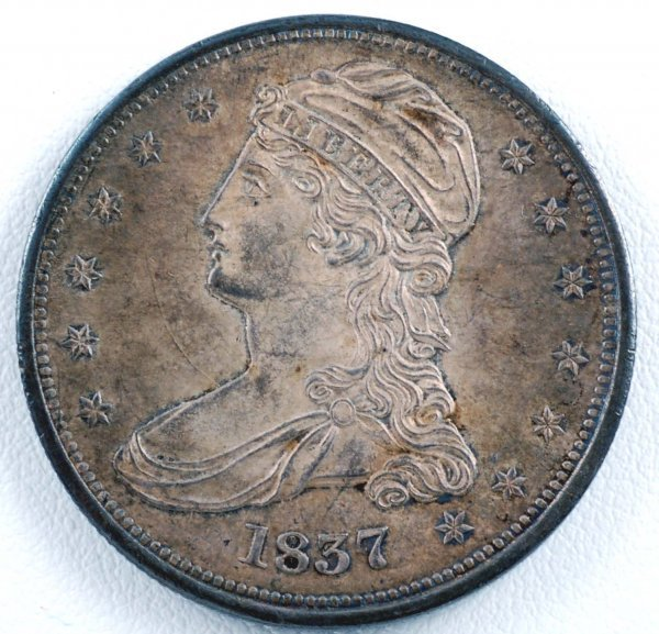 438: 1837 Capped Bust Half Dollar Reeded Edge AU-Unc
