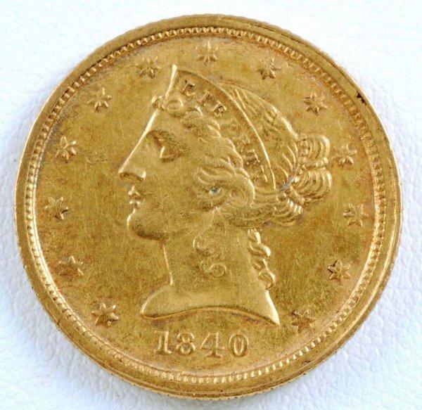 439: 1840-C Liberty Head $5 Gold Half Eagle VF