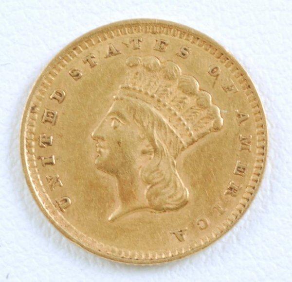 440: 1857 Indian Princess Large Head $1 Gold Piece EF