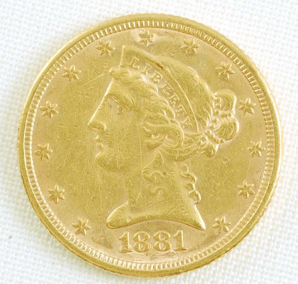 446: 1881 Liberty Head Half Eagle $5 Gold Coin EF