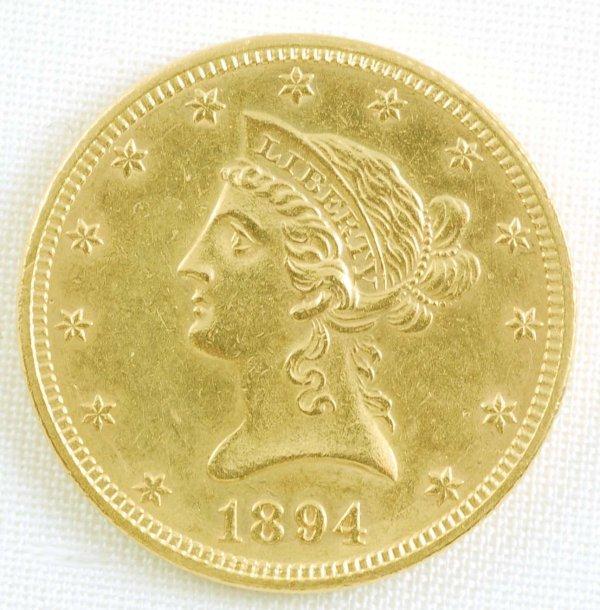 447: 1894 Liberty Head Eagle $10 Gold Coin Unc