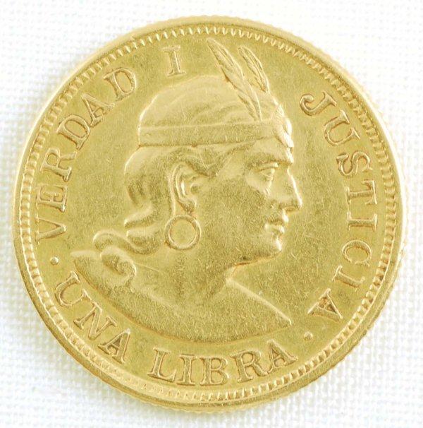 450: 1903 Peru Gold Libra AU