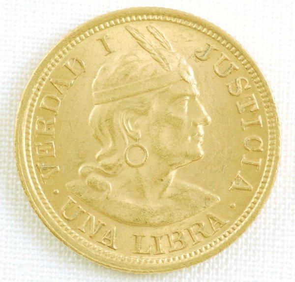 451: 1918 Peru Gold Libra AU