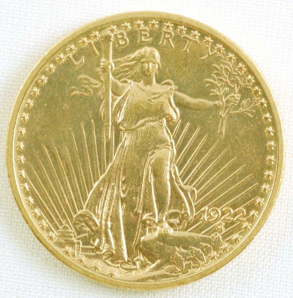 452: 1922 Saint Gaudens Double Eagle $20 Gold Coin Unc