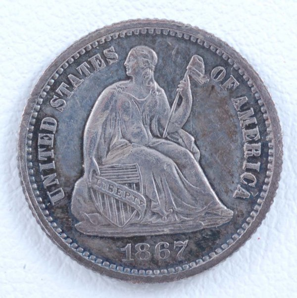 454: 1867 Half Dime Unc