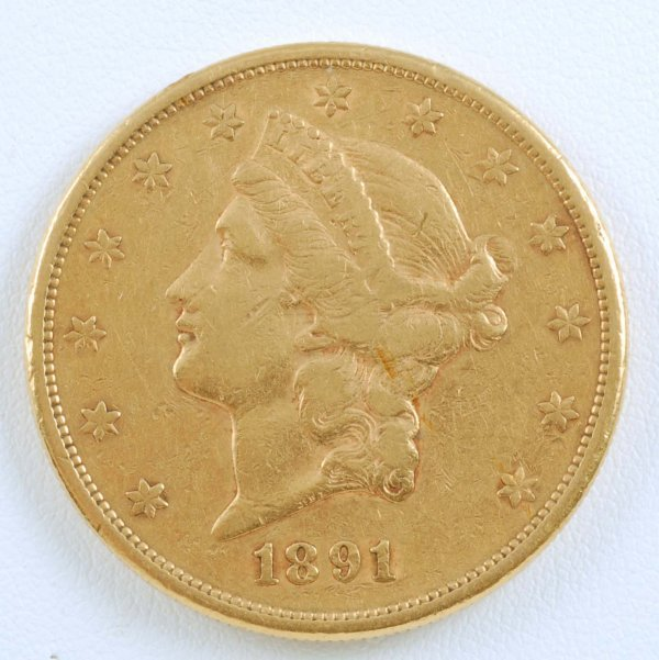 456: 1891-S Liberty $20 Double Eagle Gold Piece F-VF
