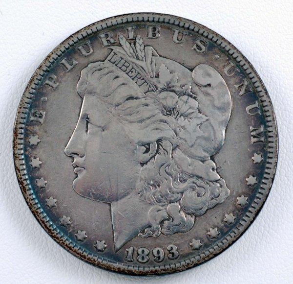 457: 1893 Morgan Silver Dollar F-VF