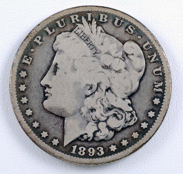 458: 1893-CC Morgan Silver Dollar F