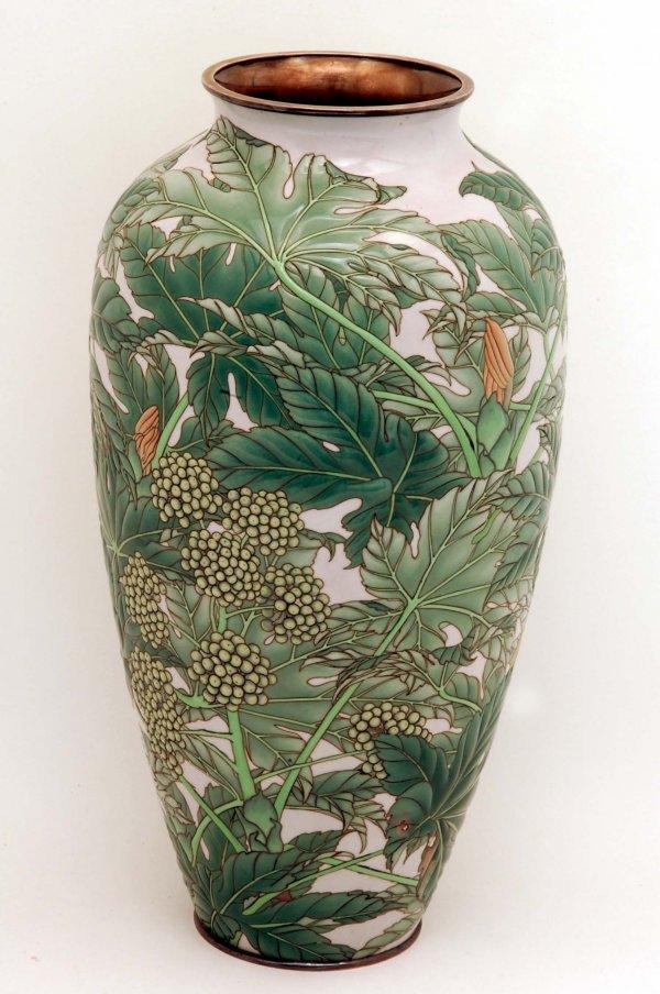 608: Large and Fine Signed Moriage Cloisonne Vase
