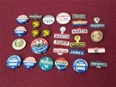 27 Political Pin Back Buttons incl W G Harding