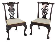 Pr Walnut Chippendale Side Chairs