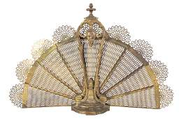 Victorian Brass Fan Fire Screen