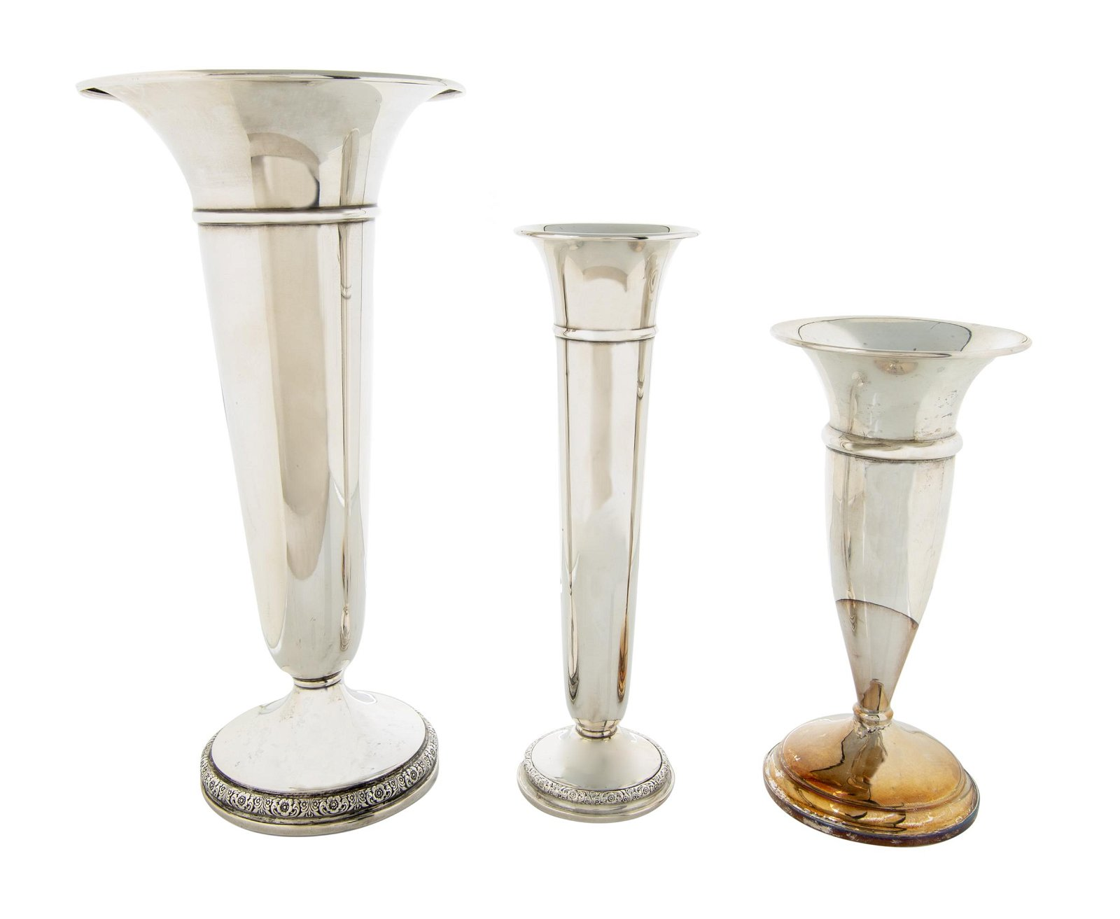 3 Sterling Weighted Trumpet Vases