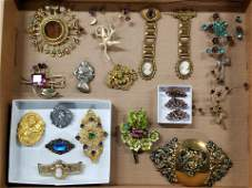19 Pcs Costume Jewelry incl Brooches