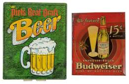 2 Tin Litho Beer Advertising Signs