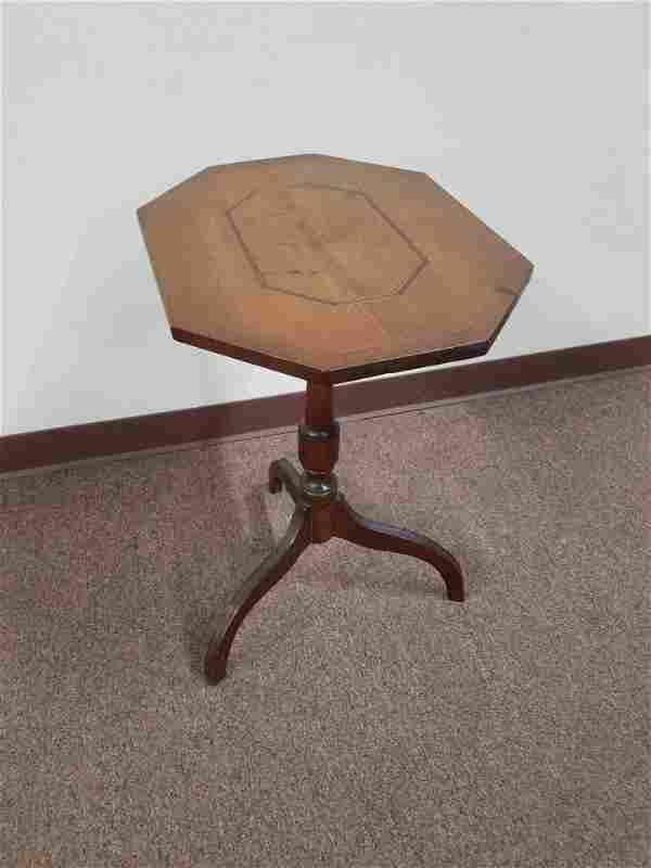 Walnut Inlaid Tilt Top Table