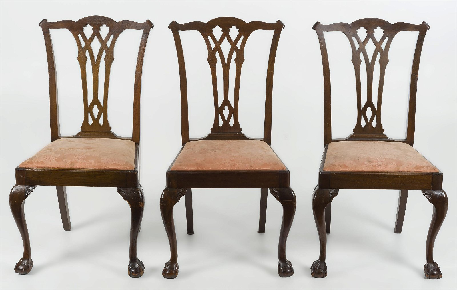 Set of Three Chippendale Revival Side Chairs