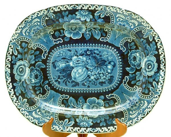 3: 19th C Staffordshire Transferware Meat Platter