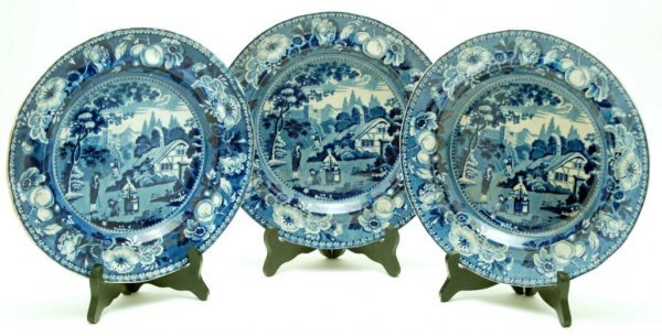 5: 3 Staffordshire Transferware Dinner Plates