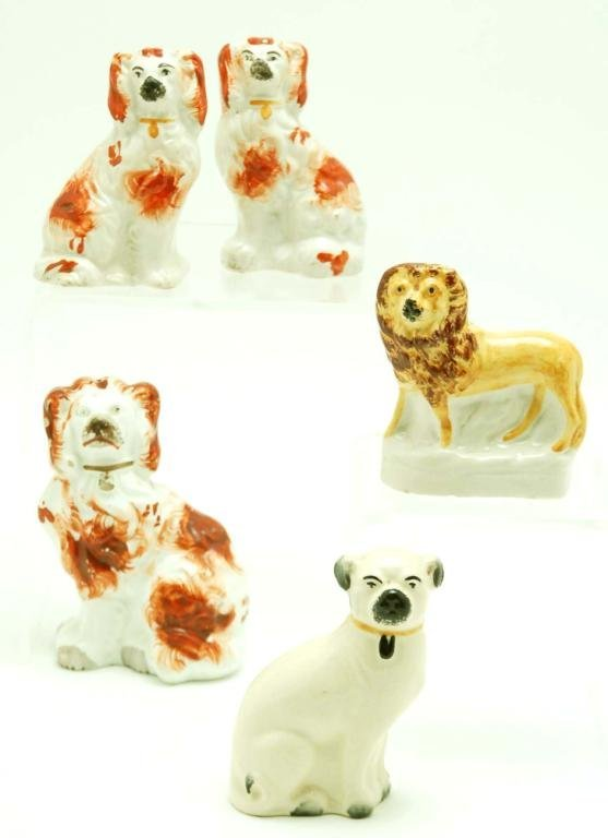 6: 5 Small Staffordshire Figural Animals