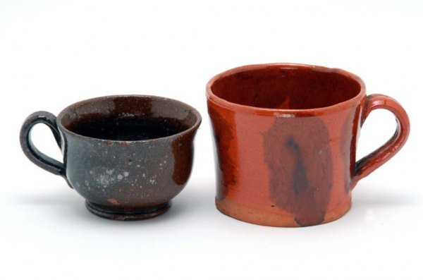 7: 2 19th C Redware Mugs