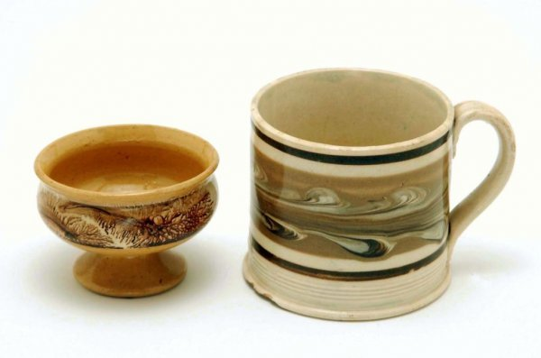 8: 19th C Mocha Footed Salt & Handled Mug