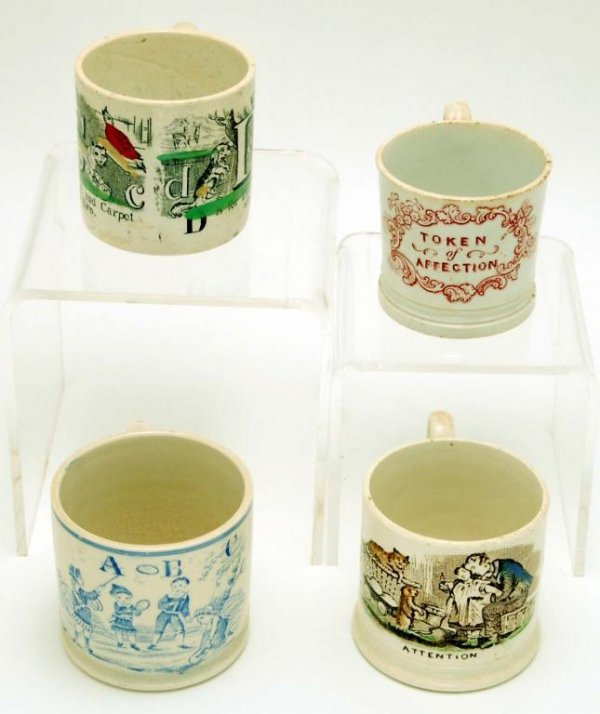 12: 4 19th C Transferware Children's Mugs