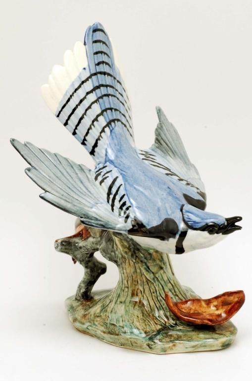 24: Stangl Flying Blue Jay with Leaf #3716