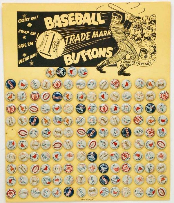 570: 143 Baseball Trademark Buttons on Display 1940's