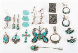 16 Pcs Silver Jewelry Incl Earring and Pendants