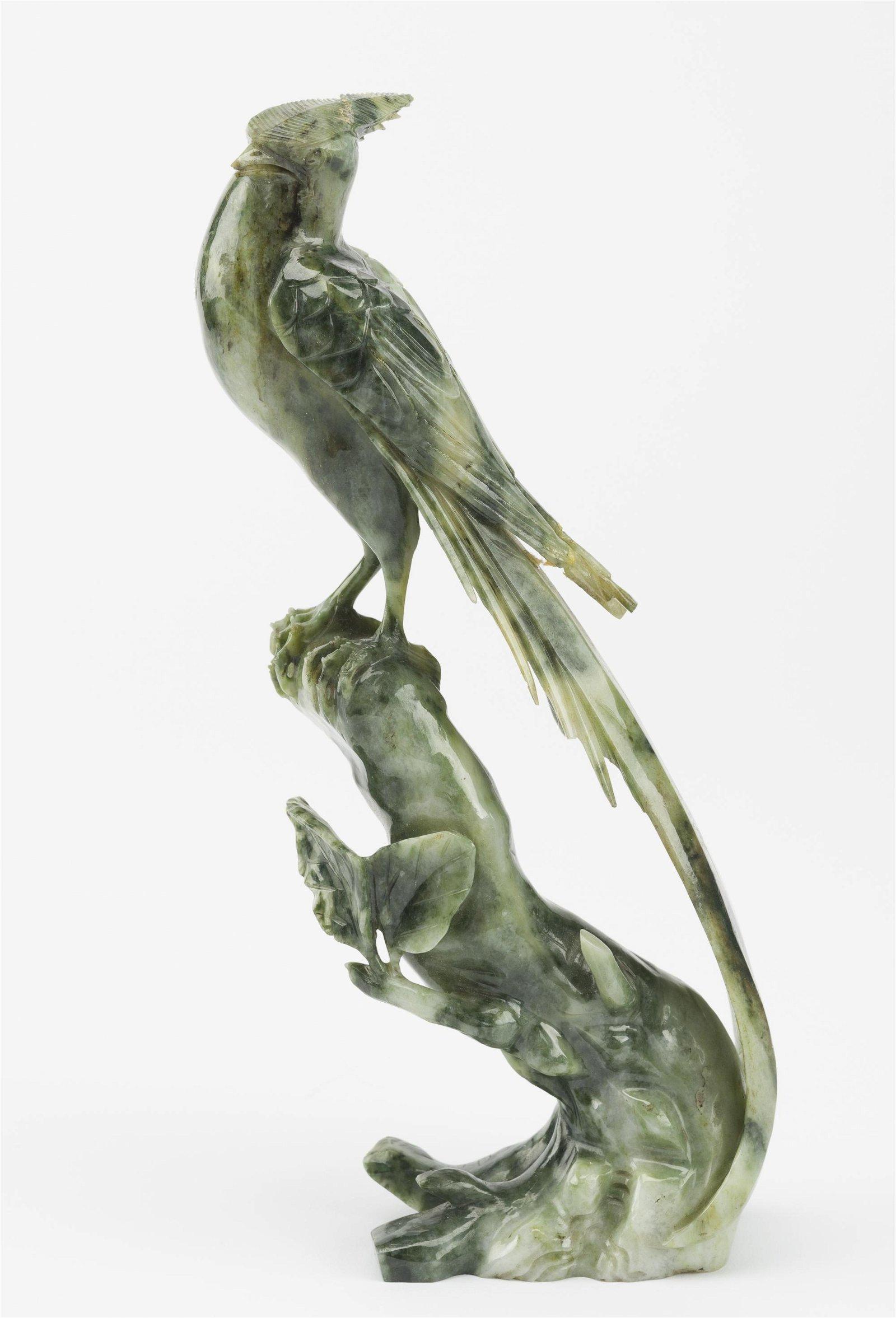Nephrite Jade Bird of Paradise Sculpture